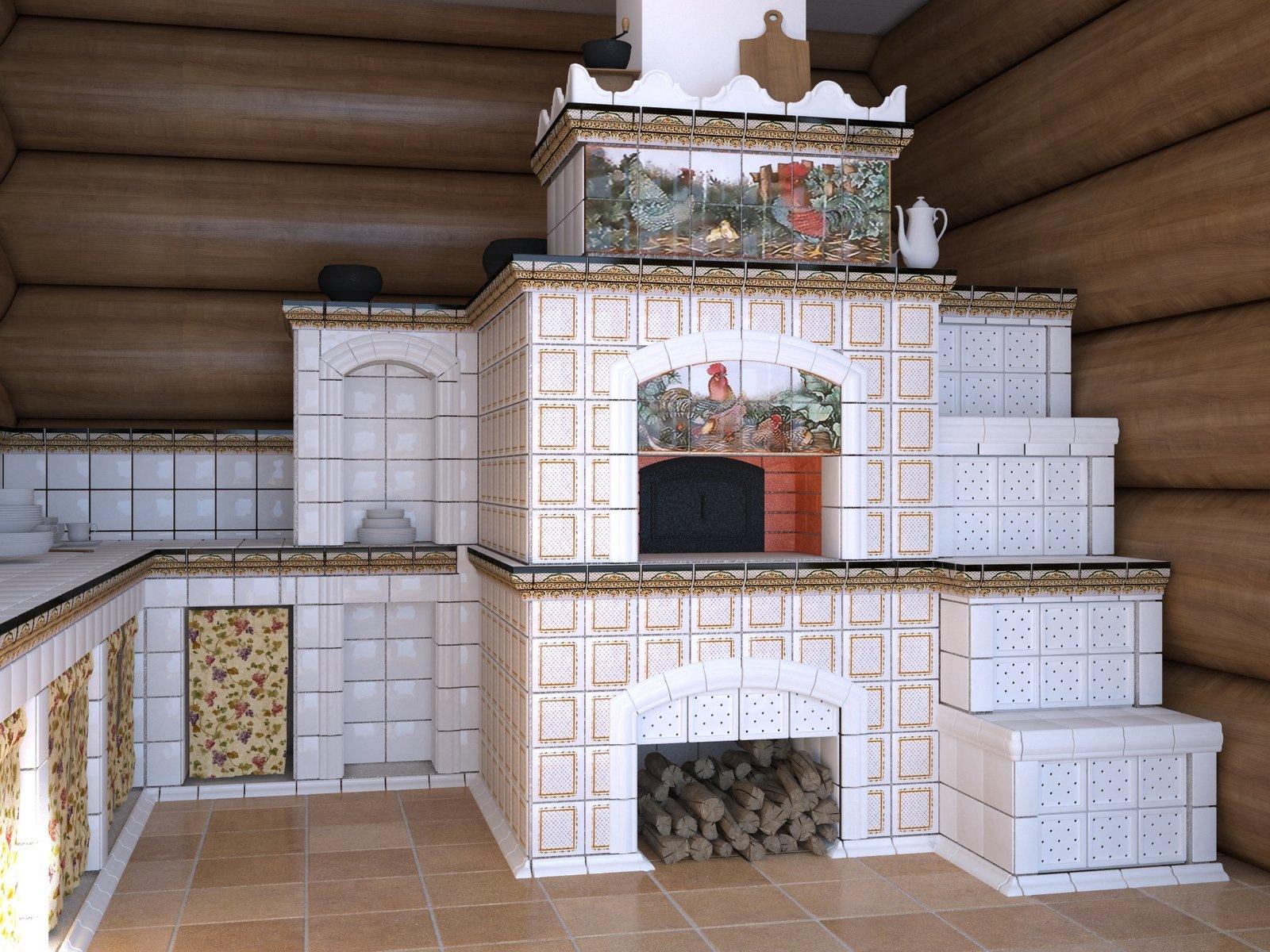 Как украсить печь в доме своими руками в деревянном доме 64