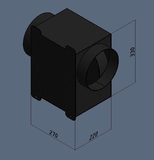 Схема коробки с отображением всех замеров и габаритов