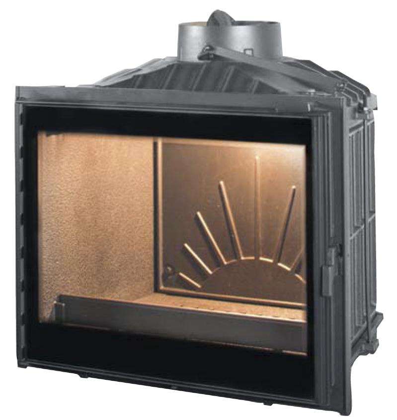 Металлический очаг с дверцей из огнеупорного стекла